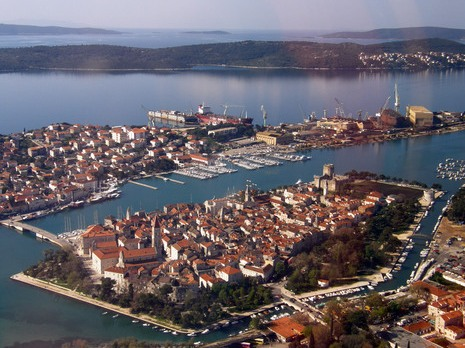The medieval island of Trogir sits on the Adriatic Sea.  It is connected by bridges to the mainland and to the larger island of Ciovo